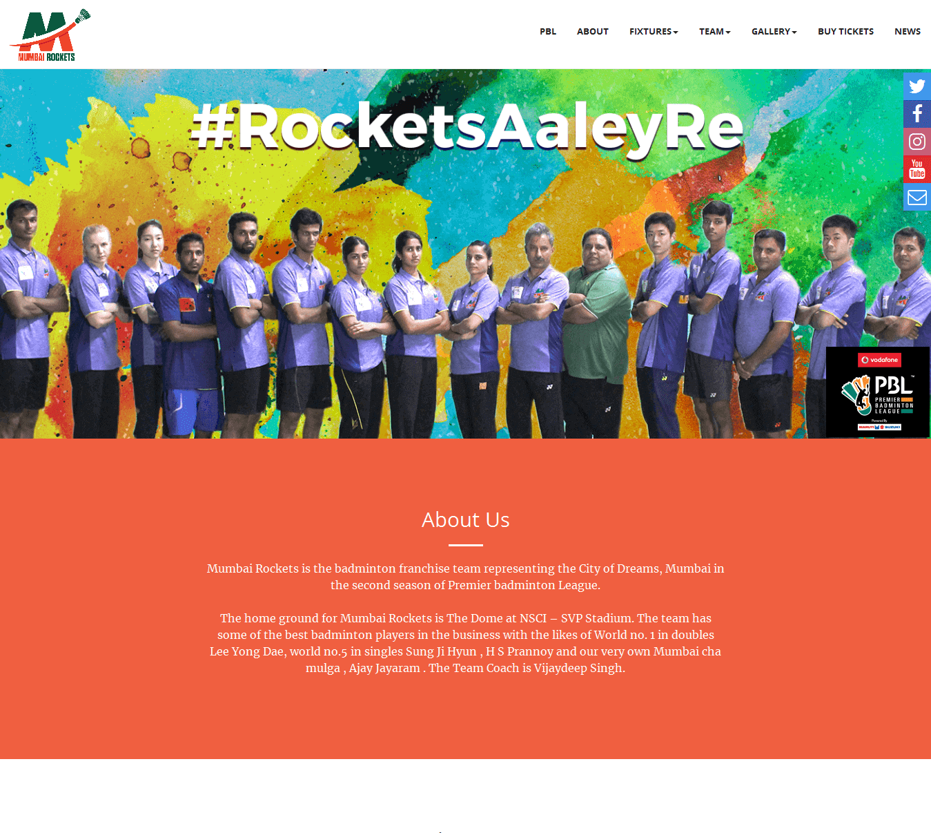 Mumbai Rockets Web App Screenshot
